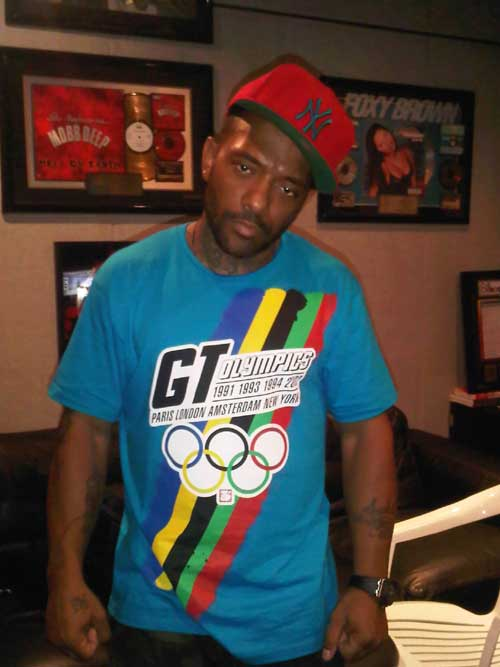 prodigy of mobb deep spotted at infamous studios,queens ny with a gt shirt