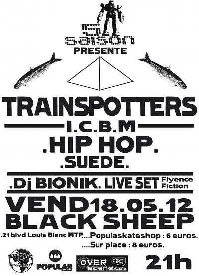 vendredi 18 janvier 2012 le groupe de rap trainspotters et le producteur hip hop français i.c.b.m. et en warm up le dj bionik a montpellier au black sheep pour un concert hip hop