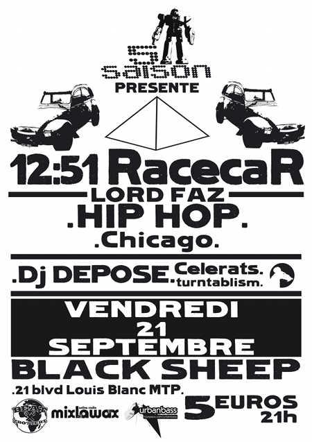 12:51 RacecaR concert hip hop le Black Sheep Montpellier vendredi 21 septembre 2012